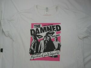 Men's XL White The Damned Machine Gun Etiquette Annivesary T Shirt Punk Music