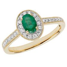 Ovale Echte Edelstein-Ringe aus Gelbgold mit Smaragd
