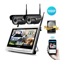 1080P HD 4CH Wireless Security Camera System Outdoor 12'' LCD WIFI NVR CCTV Kit~