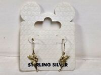 Rare Disney Collectible Gold Tinkerbell Sterling Silver Earrings By Walt Disney