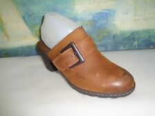 Womens BORN BOC Brown Leather Top 8/39M Buckle Strap Detail High Heel Mule Clog