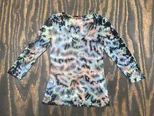 Barbara Lesser Grey, Brown, Black & Green Tye Dyed 3/4 Sleeve Cotton Shirt Sz M
