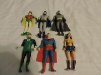 Batman SUPERMAN ROBIN + Bendable Figure by N.J. Croce Co. for DC Comics lot of 6
