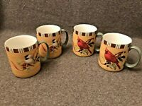 Lenox Winter Greetings Everyday Mugs Cardinal Chickadee Set of 4