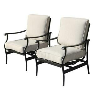 Patio Festival Rocking Chair Steel Black Frame Outdoor Beige Cushions (2-Pack)