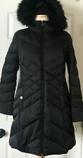 NWT Womens Kenneth Cole Reaction Diamond Quilted Down Hooded Coat Parka Black