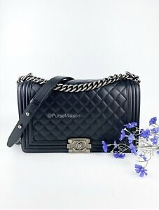 Chanel Le Boy Quilted New Medium Lambskin Ruthenium Hardware Series 1