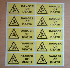 10 X ADESIVI PERICOLO DI MORTE 100 mm x 40 mm adesivi di avvertimento e sicurezza