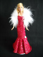 Glittery Red Fits Barbie Doll Sheath Dress Strapless Handmade w// Necklace /& Boa