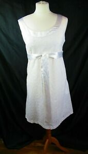 SELECT Ladies sleeveless Dress-lined white,broderie anglaise satin collar Uk12