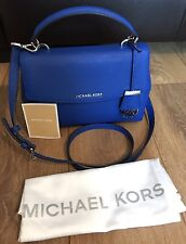 BN Michael Kors Ava Saffiano Leather Small Top Handle Electric Blue Satchel Bag