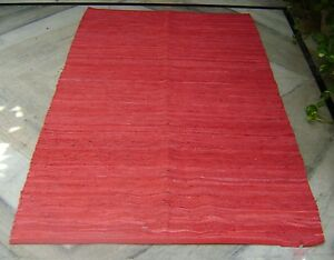 4' X 6' MODERN LEATHER MULTI RED flat Leather STRIPS Handmade RUG