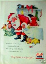 1956 Jell-O Merry Christmas Red Santa Suit~Kids Toys~Train~Sleeping Mouse Art AD