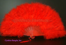 28 Leaves Bright Red marabou Feather Fan, A+ Quality