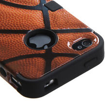 for iPhone 4 4G 4S - Orange Basketball Armor Impact Hard&Soft Rubber Case Cover