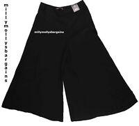 New Womens Marks & Spencer Black Super Wide Crop Size 16 14 12 6 Regular Short