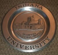 Vtg INDIANA UNIVERSITY MEMORIAL UNION HALL CAMPUS Pewter metal Plate Pew-Ta-Rex