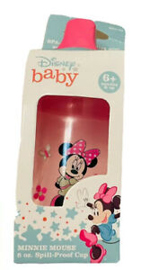 💖NIB One Disney Baby Minnie Mouse 8oz Spill proof cup, 6 mos No BPA Pink