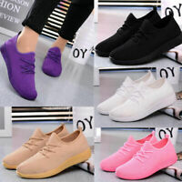 Women Sports Slip On Running Loafers Trainers Breathable Casual Sneakers  *