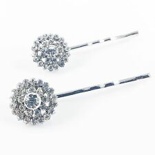 USA Bobby Pin Rhinestone Crystal Hair Clip Hairpin Jeweled Charming Silver Clear