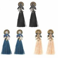 Fashion Women Boho Dangle Long Tassel Earrings Fringe Crystal Ear Drop Jewelry