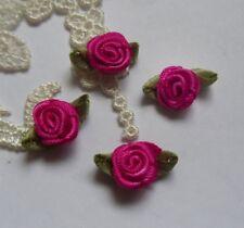 """1/2"""" Shocking Pink Ribbon Elegant Rose w/ Green Leaf-Lots of 50-R0124"""