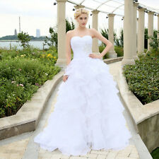 A-LINE Ruffles Beading Organza Wedding Dress. Bridal Gowns. REGULAR/PLUS SIZES.