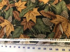 """Outdoor Splendor lg Fall Leaves quilters cotton Fabric by yard 44"""" Kona Bay"""