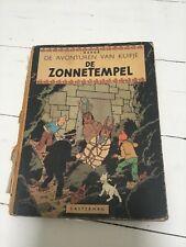 Kuifje De Zonnetempel eerste druk 1949 Herge HC