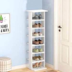 7 Tier Vertical Wooden Kids Shoe Rack White Tall Storage Unit Cube Door Hallway
