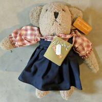 Vintage Anna Club Plush Leather Tag Mouse/Bear Brown Blue Dress Plaid Top 1996