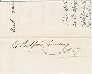 Sir Stratford Canning, British Ambassador & Diplomat, signed 1847 small piece