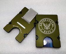 United States Navy, Aluminum Wallet/Card Holder, RFID protection, Green