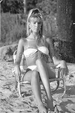 1970s-80s (4 x 6) B&W Repro Risque Pinup Photo- Blond- Bikini- Beach Chair