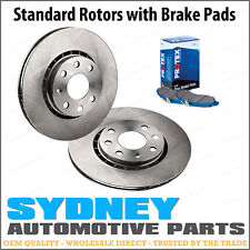 2 Front Disc Brake Rotors + Protex Pads Kit Commodore VP 6cyl NO-ABS 10/91-05/92