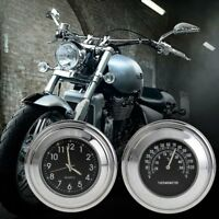 """7/8"""" 1"""" Motorcycle Handlebar Mount Watch Black Dial Clock & Thermometer Temp Top"""