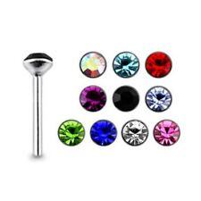 10 Pcs 22G 9mm 925 Sterling Silver 2mm Jeweled Cubic zirconia Nose Straight Stud