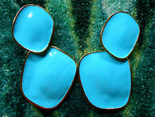 "Kenneth Jay Lane Satin Gold Large Turquoise Drop Clip Earrings ""As Is"""