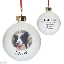 Personnalisée photo & paw prints arbre de noël babiole de noël pet memorial chat chien