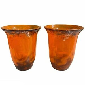 Muller Freres Luneville France Signed Pair of Medium Sized Orange Glass Vases
