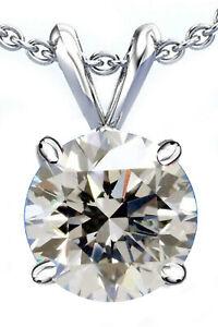2.00+Ct Near White Round Real Moissanite Diamond Solitaire 925 Silver Pendant