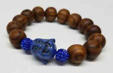 BUDDHA HEAD  BLUE CHARM w/ SWAROVSKI & WOOD BEADS STRETCH BRACELET New GOOD LUCK