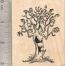 Haunted Halloween Tree Rubber Stamp Wood Mounted J7306