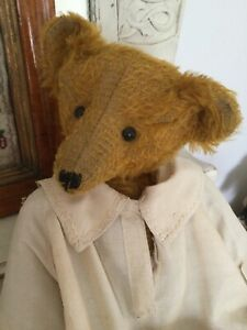 ANTIQUE BEAR 17 INCHES HIGH.ANTIQUE DRESS.