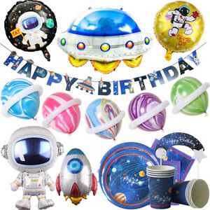 Space Theme Disposable Tableware Set Balloon Set Birthday Party Decoration HOT