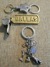 Chihuahua Lovers Charms, Star, Vintage Brass Dallas Whistle, Key Chains Lot of 3