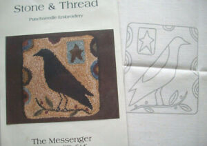 The Messenger Black crow needle punch pre-printed fabric and pattern