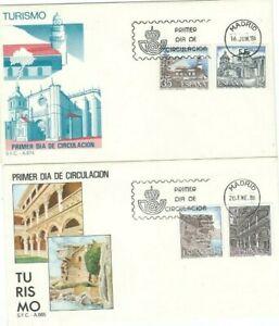 FDC Primer día España 1986 Turismo Barcelona, Guadalajara, Nerja y Salamanca
