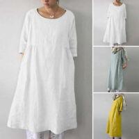 Long Shirt Dress Casual Blouse Tops Loose 3/4 Sleeve Women Plain Oversize