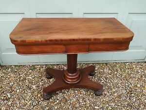 Antique Mahogany Pedestal Tea / Card / Games Table fold over storage